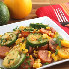 Spicy Sausage and Summer Squash Skillet