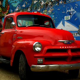 Red Chevy by Gary Winterholler - Transportation Automobiles