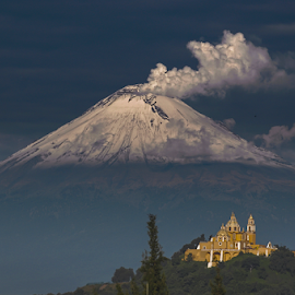 Church and Snowy Volcano by Cristobal Garciaferro Rubio - Landscapes Mountains & Hills ( snowmountain, mexico, puebla, snowy, popocatepet, smoke, crater, cholula, volcano, popo, snow, church virgen de los remedios, eruption )