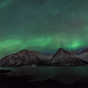 aurora over mountains by Benny Høynes - Landscapes Waterscapes ( mountains, winter, auroras, boreoalis, lake, norway )