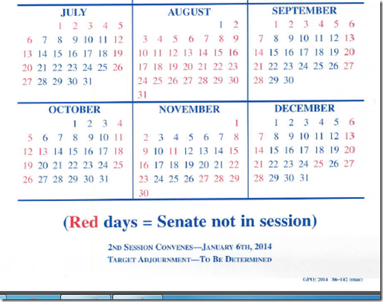 US Senate schedule 2014
