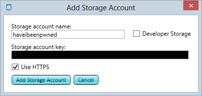Adding the account name and key