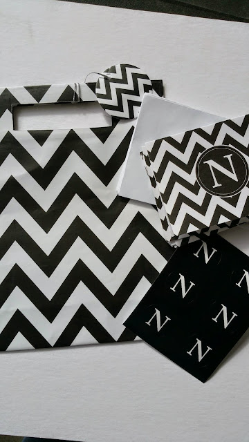 Black and White chevron gift bag, N monogram note card and N black seal