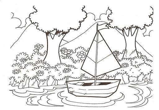 Dibujo De Paisaje Marino Para Colorear: Dibujos De Paisajes