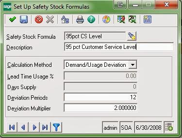 Set Up Safety Stock Formulas
