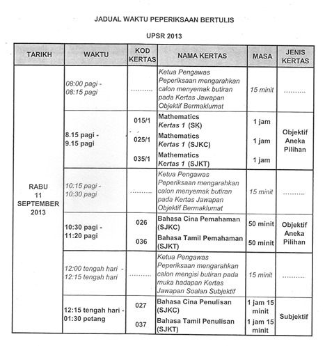 jadual waktu peperiksaan upsr