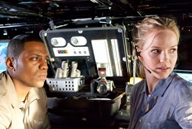 Mekhi Pfifer is Rex Matheson and Alexa Havins is Esther Drummond in Torchwood Miracle Day Escape to LA