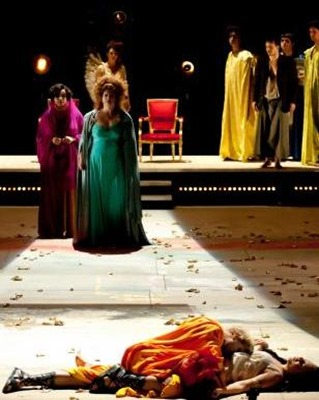 a scene from Jean-François Sivadier's production of Monteverdi's L'INCORONAZIONE DI POPPEA at the Opéra de Lille [Photo by Frédéric Lovino, Opéra de Lille]