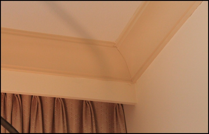 faux tray ceiling corner detail on window wall