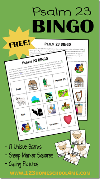 FREE Printable Psalm 23 Bible Bingo for Kids - this is a fun Bible games kids, Bible games for children, and for Sunday School lessons for preschool, kindergarten, first grade