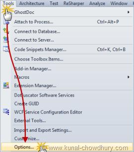 Open Tools menu - Options