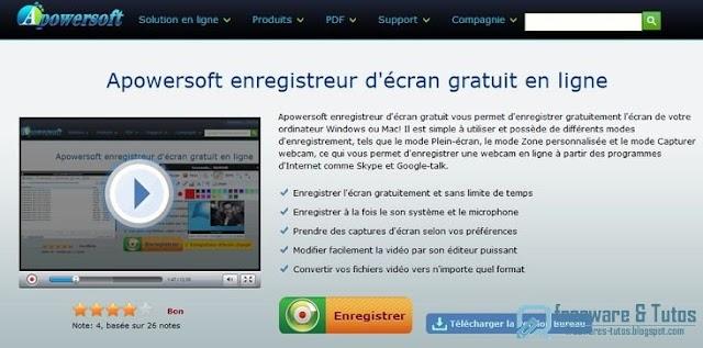 Apowersoft Free Online Screen Recorder : un outil en ligne pour enregistrer en vidéo l'activité de l'écran de votre ordinateur