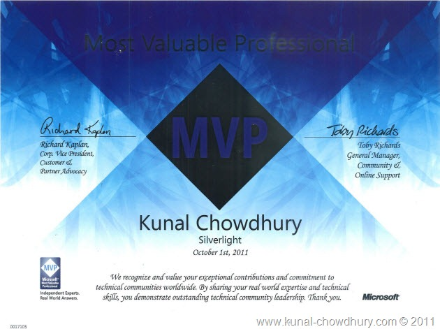 here comes my microsoft mvp silverlight certificate and kit