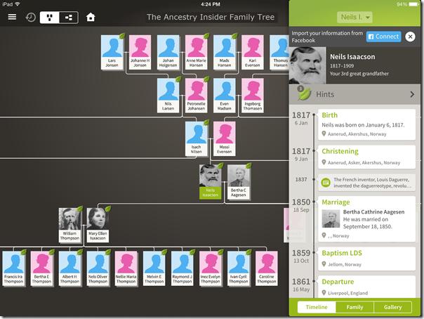 祖先应用程序家庭视图和各个时间表