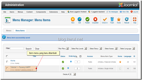 menu Joomla! 1.7 - menu item
