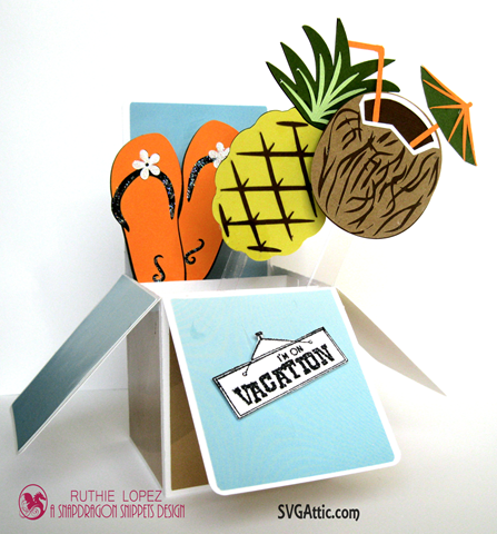 Box in a card - Summer Lovin´Blog Hop - SnapDragon Snippets - Pineapple - Coconut - Ruthie Lopez
