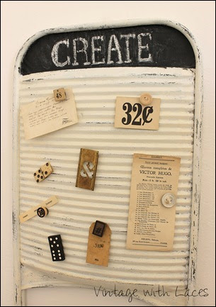 Vintage with Laces Studio - Vintage washboard turned into magnetic inspiration board
