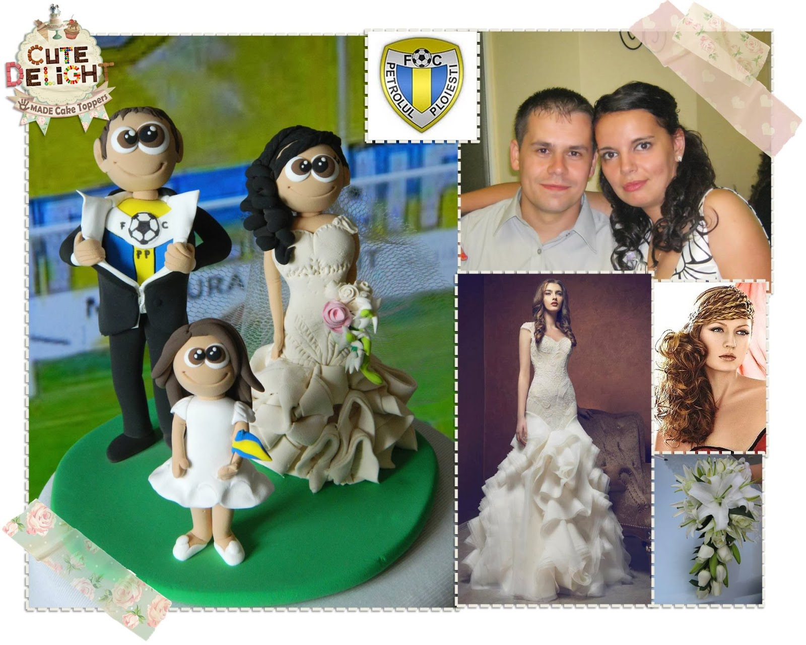 Wedding Cake Topper Custom Made Bride And Soccer Fan Groom With Their Little Daughter