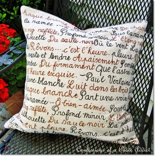 CONFESSIONS OF A PLATE ADDICT  DIY French Poetry Pillow