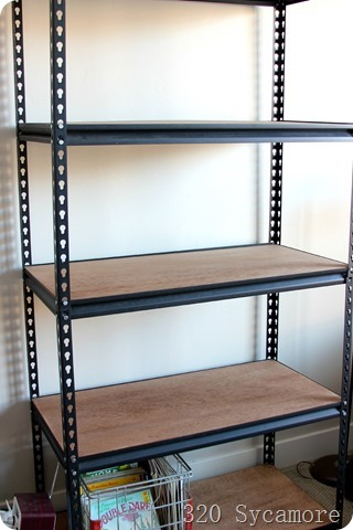 metal shelves with wood