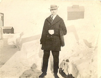 Winter Photo Man near snowbank