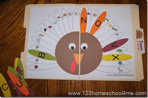 inside of turkey alphabet file folder game