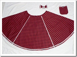 Red A-line Plaid Skirt with Accessories