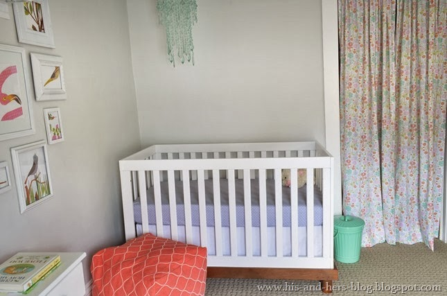 coral and mint baby girl nursery