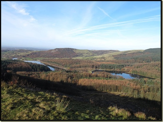 Trentabank and Ridgegate Reservoirs, with Tegg's Nose behind, from Nessit Hill