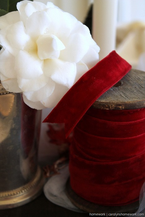 Red Velvet & White Tulle Holiday Tablescape via homework - carolynshomework (13)