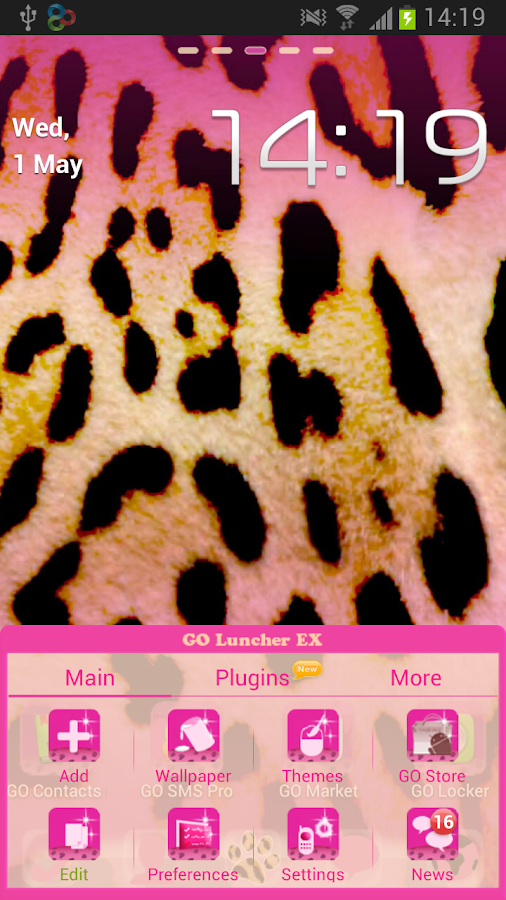 GO Launcher EX Pink Leopard - screenshot