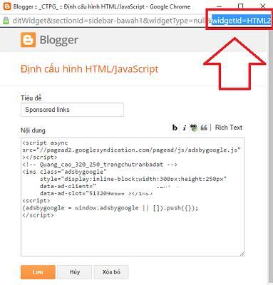 Cách tìm ID của một widget trong Blogspot