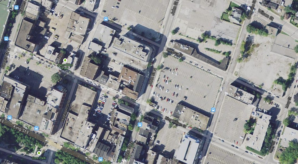 Google satellite view of vacant lots in downtown Hamilton
