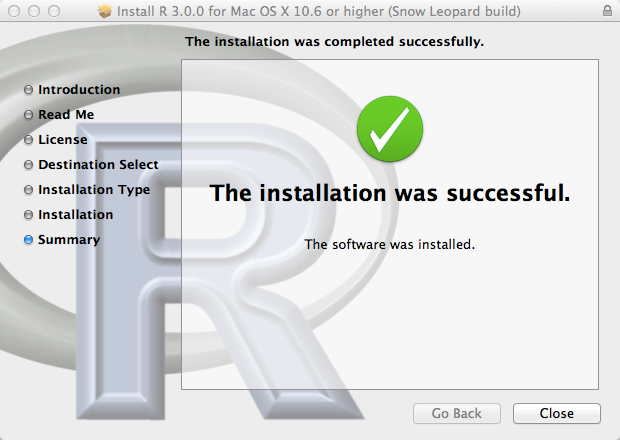 Install R 3 0 0 for Mac OS X 10 6 or higher  Snow Leopard build 2