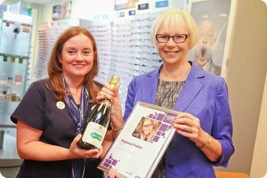 SWOTY finalist Margaret Johnson with Nantwich Specsavers store manager Mel Sharpes