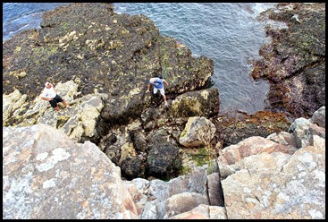 02f - Schooner Head Overlook - Dan braves the slippery sea weed to go into the cave