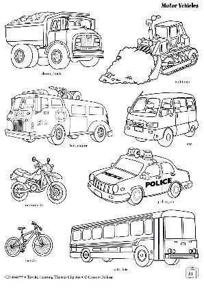 Laminas De Medios De Transporte Para Colorear