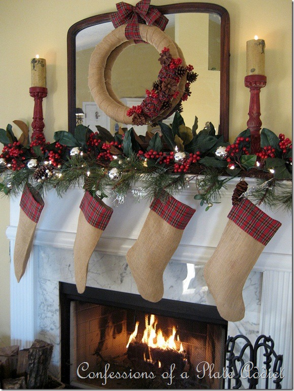confessions of a plate addict tartan and magnolia christmas mantel. Black Bedroom Furniture Sets. Home Design Ideas