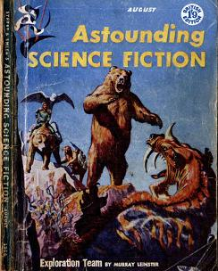 Cover by Ed Emshwiller of Astounding Science Fiction magazine, August 1956 issue, British edition. Cover illustrates the story Exploration Team by Murray Leinster.