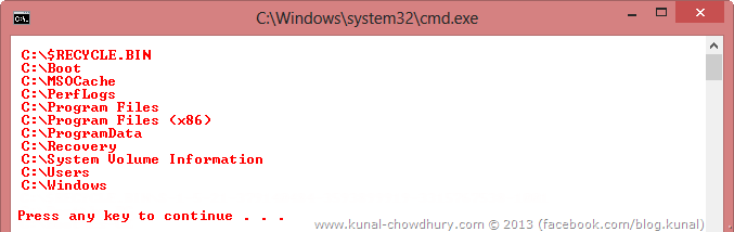 Directory Search Result in Root Drive