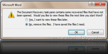 Recovery Files Prompt