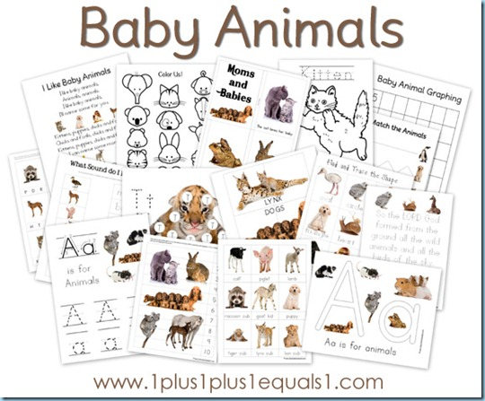 baby animals printable pack free 1 1 1 1. Black Bedroom Furniture Sets. Home Design Ideas