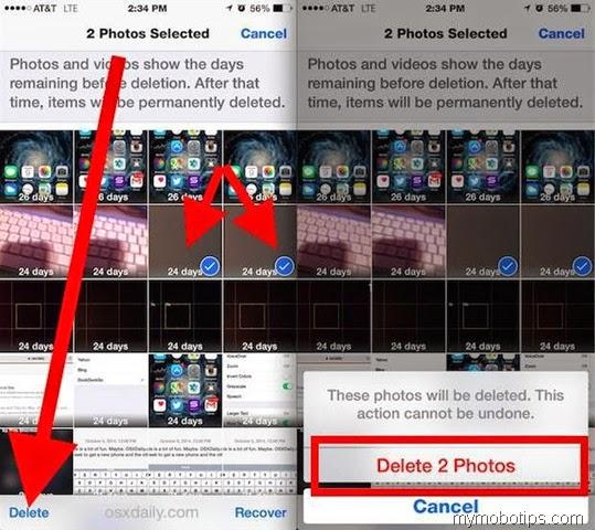 permanently delete photos in ios