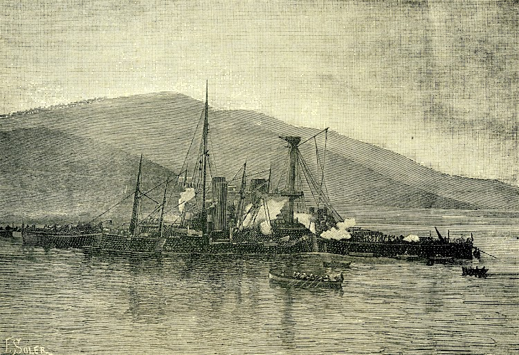 4-El HOWE siendo trasladado al dique seco de Ferrol. From the revue LA NATURALEZA. AÑO 1893..jpg