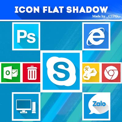 Bộ Icon flat longshadow cực đẹp