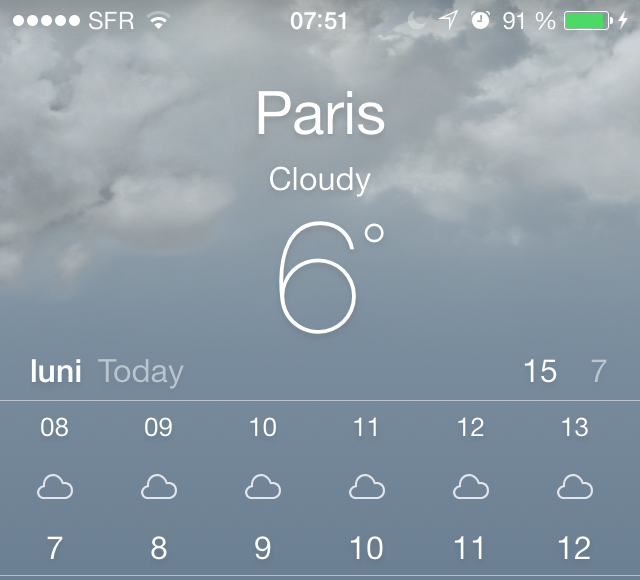 iOS 7 weather app confusing date and temperature