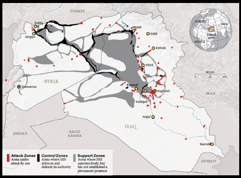 ISIS territory map January 2015