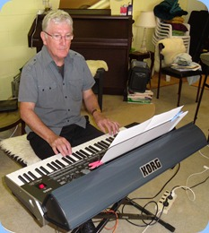 Gordon Sutherland playing his Korg Pa3X. Photo courtesy of Peter Littlejohn
