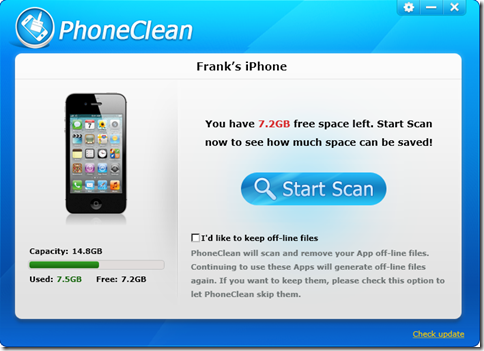 PhoneClean avvio scansione
