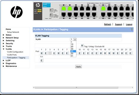 VMWare: Creating VLAN on HP ProCurve 1810G-24 v2 for vSphere